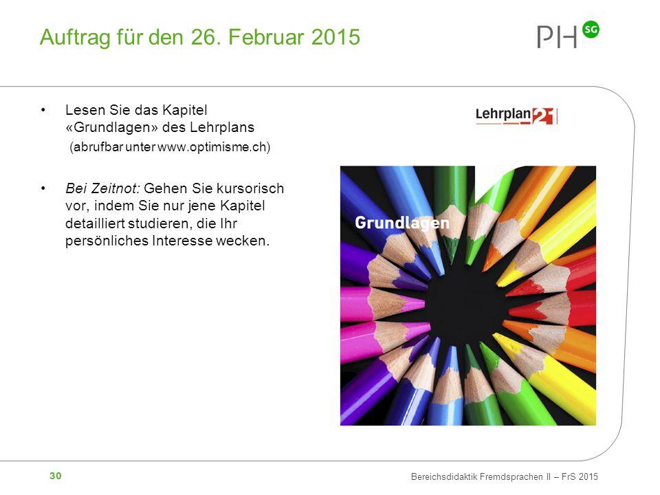 Auftrag für den 26. Februar 2015