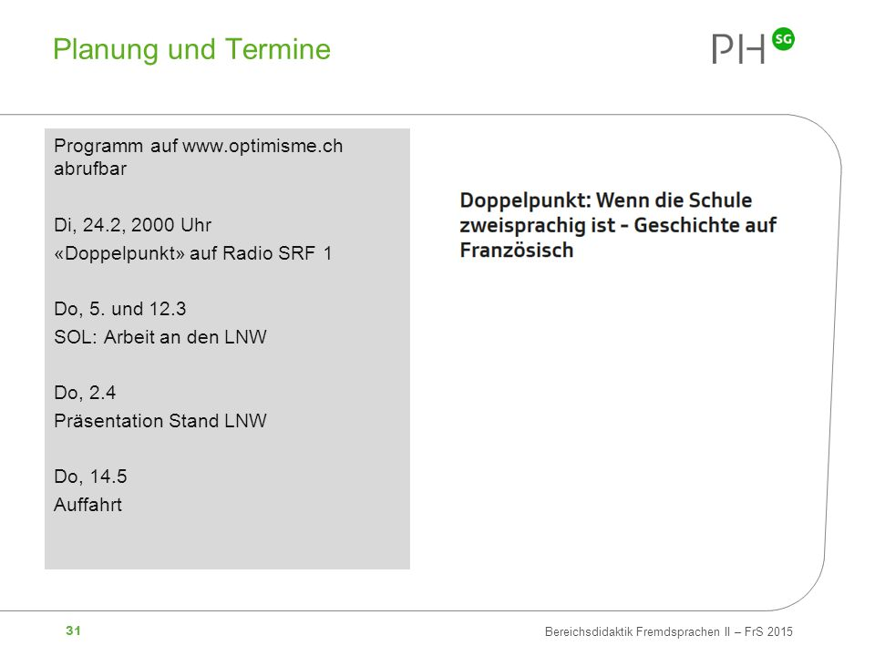 Planung und Termine Programm auf www.optimisme.ch abrufbar
