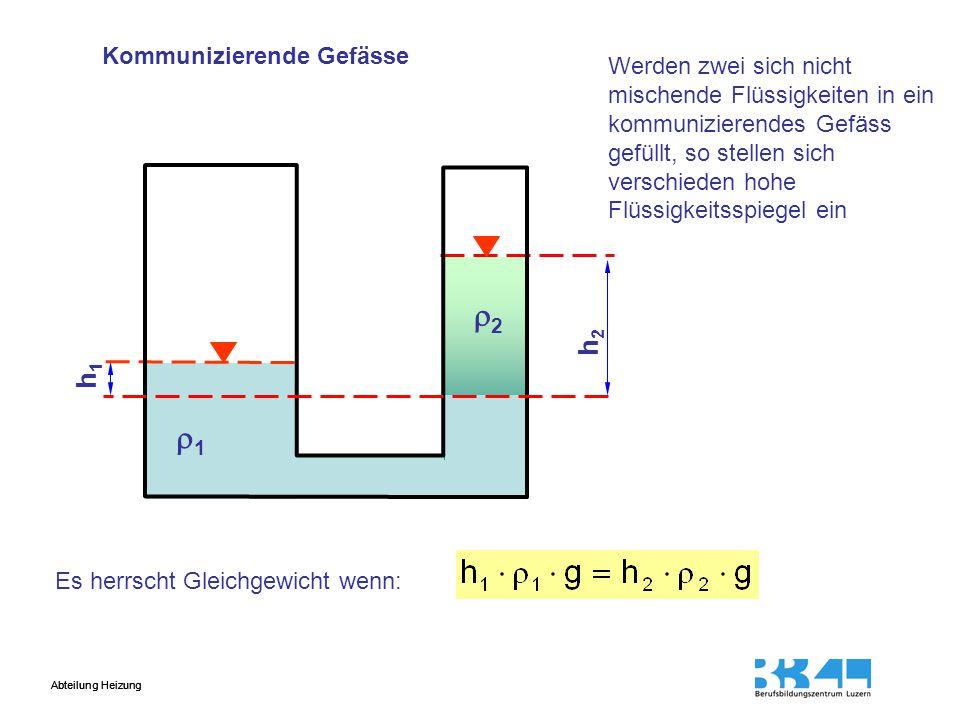 2 1 h2 h1 Kommunizierende Gefässe