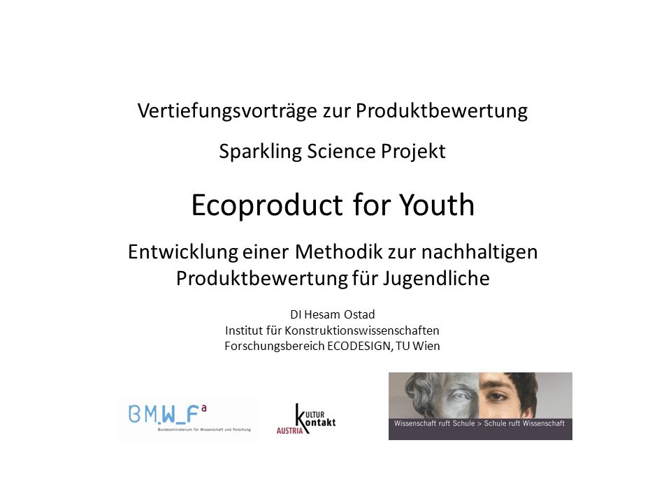 Ecoproduct for Youth Vertiefungsvorträge zur Produktbewertung