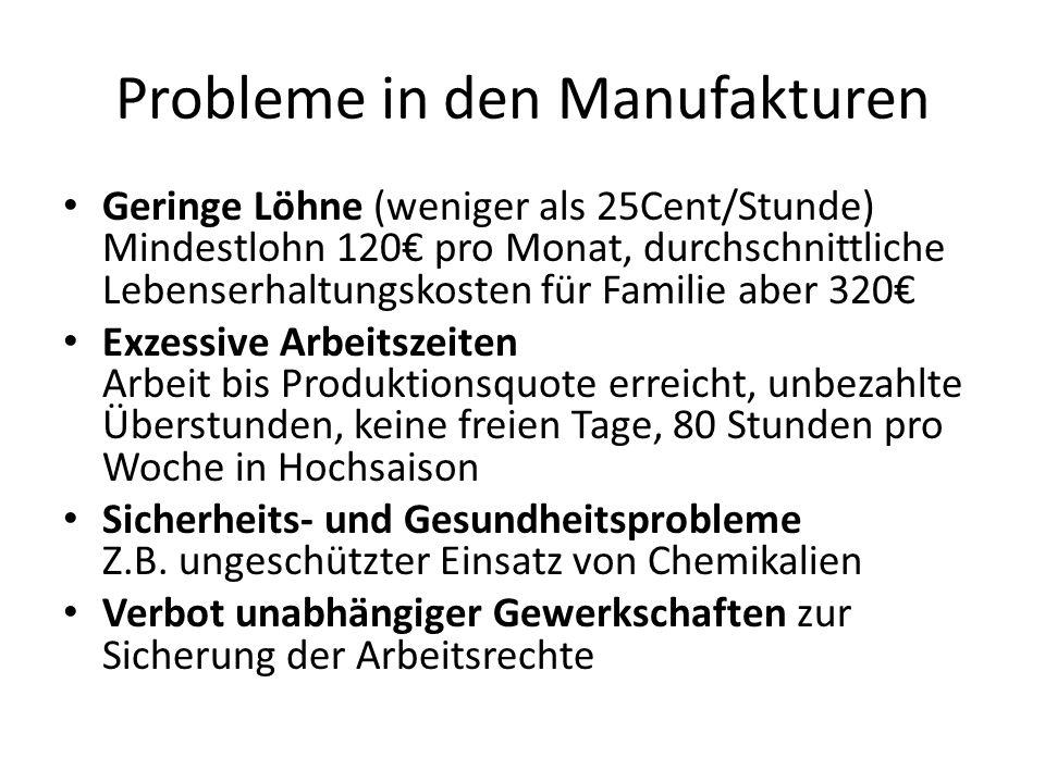 Probleme in den Manufakturen