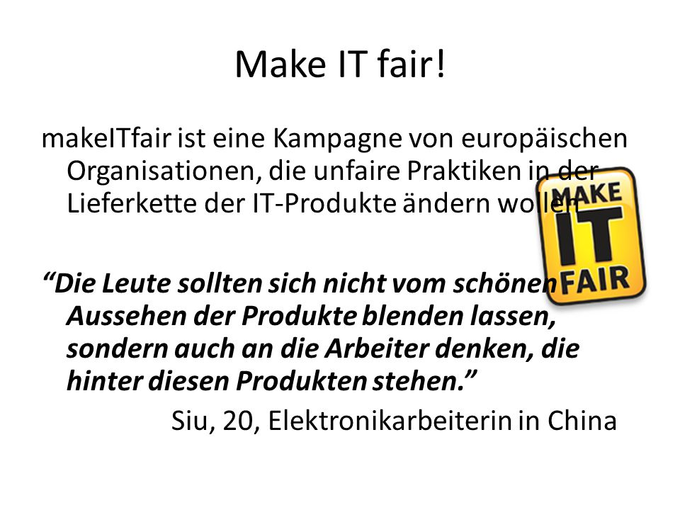 Make IT fair!