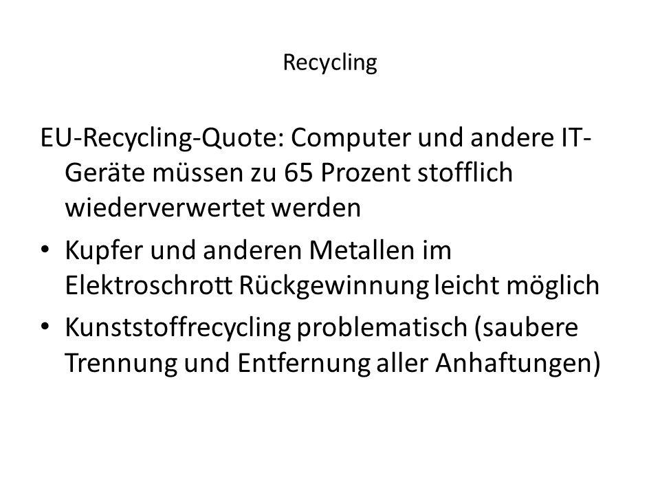Recycling EU-Recycling-Quote: Computer und andere IT-Geräte müssen zu 65 Prozent stofflich wiederverwertet werden.