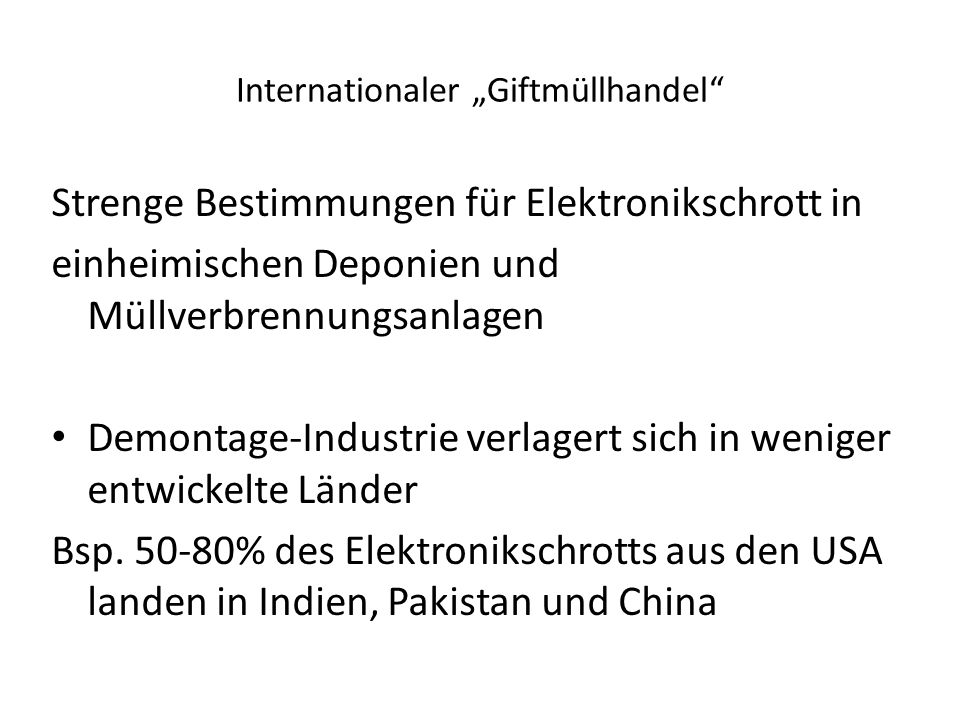 "Internationaler ""Giftmüllhandel"