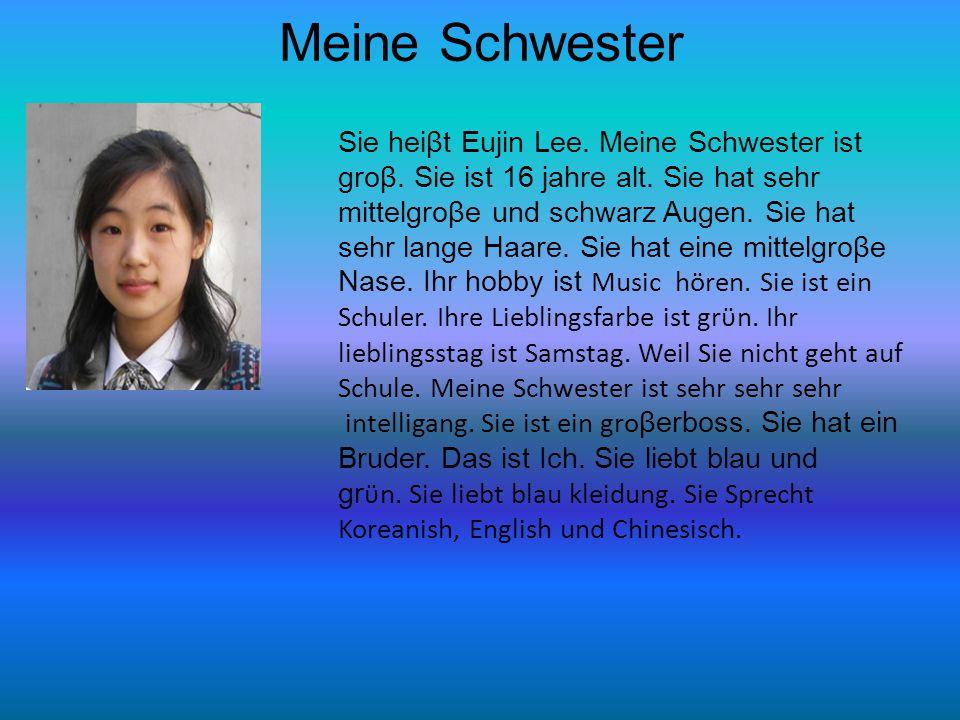 Meine Schwester Sie heiβt Eujin Lee. Meine Schwester ist