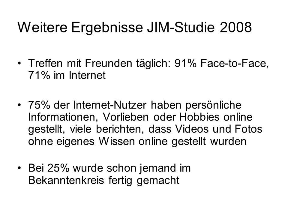 Weitere Ergebnisse JIM-Studie 2008