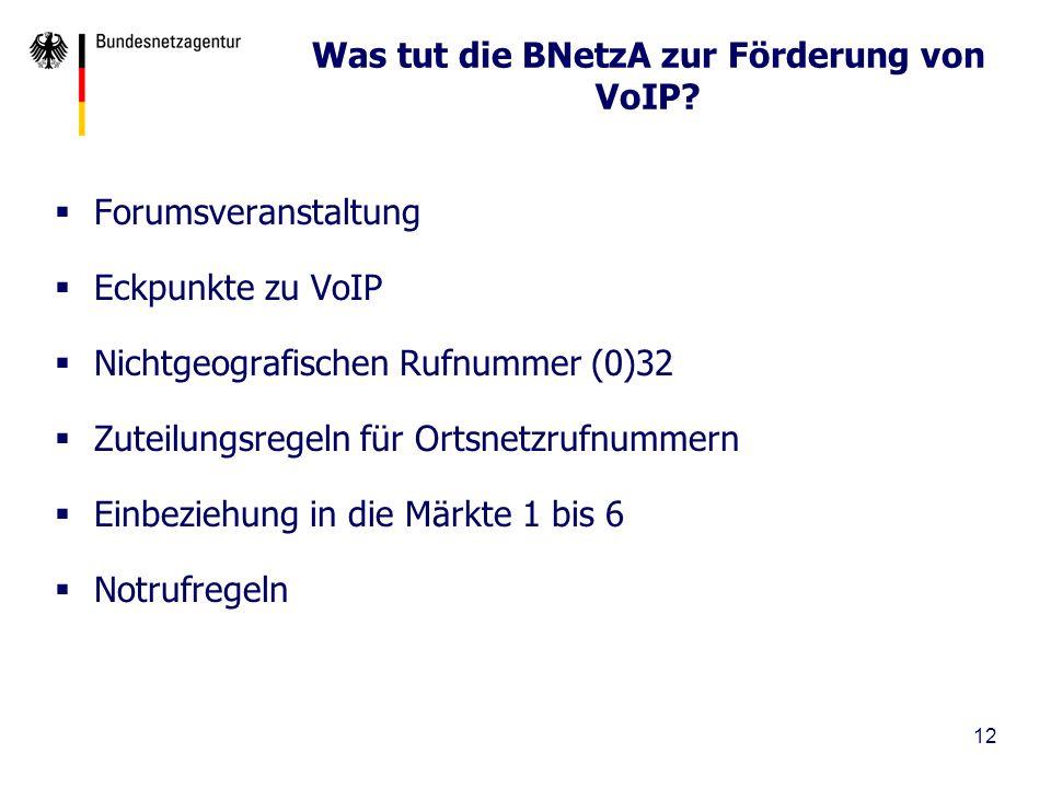 Was tut die BNetzA zur Förderung von VoIP