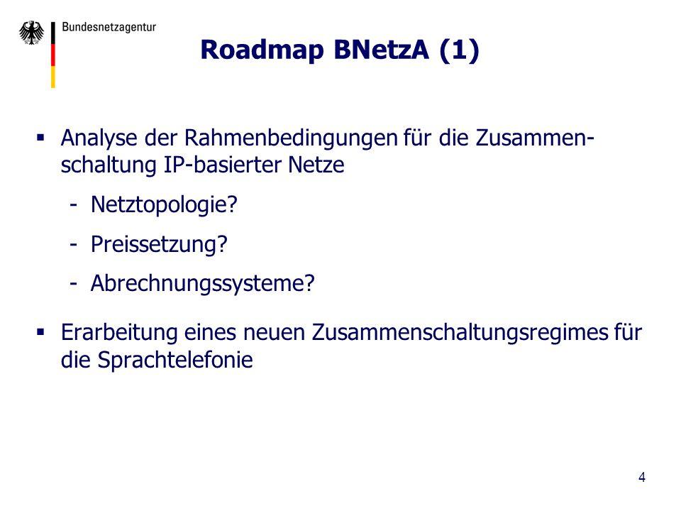 Roadmap BNetzA (1) Analyse der Rahmenbedingungen für die Zusammen-schaltung IP-basierter Netze. Netztopologie