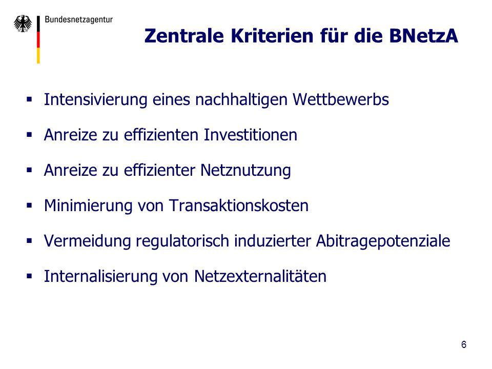 Zentrale Kriterien für die BNetzA