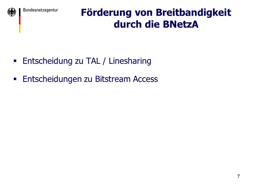 Förderung von Breitbandigkeit durch die BNetzA