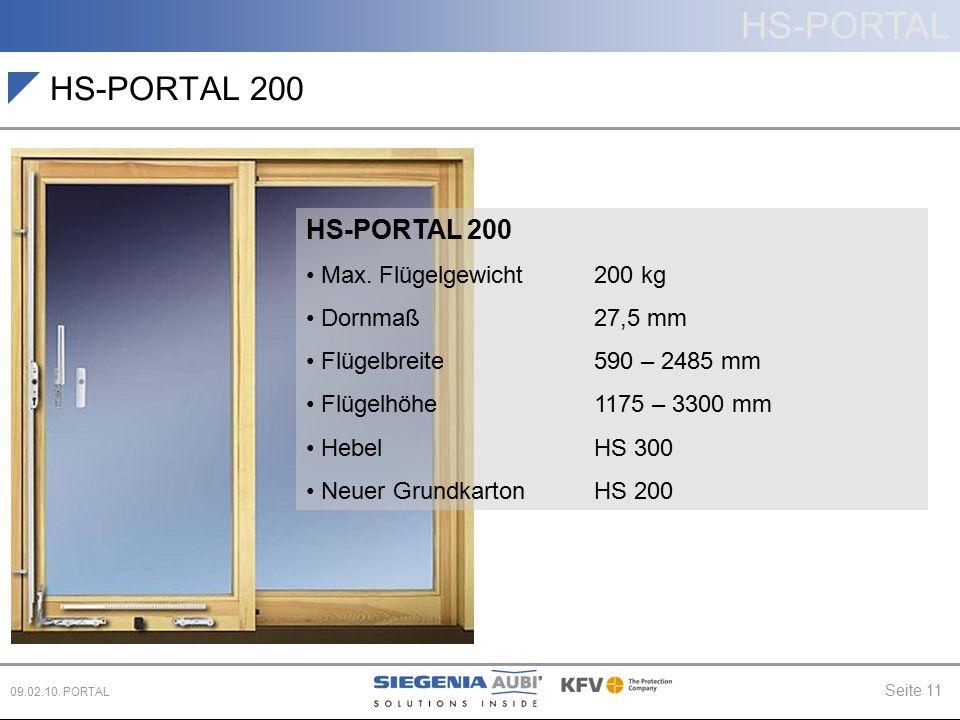 HS-PORTAL 200 HS-PORTAL 200 Max. Flügelgewicht 200 kg Dornmaß 27,5 mm