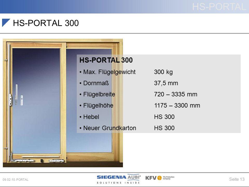 HS-PORTAL 300 HS-PORTAL 300 Max. Flügelgewicht 300 kg Dornmaß 37,5 mm