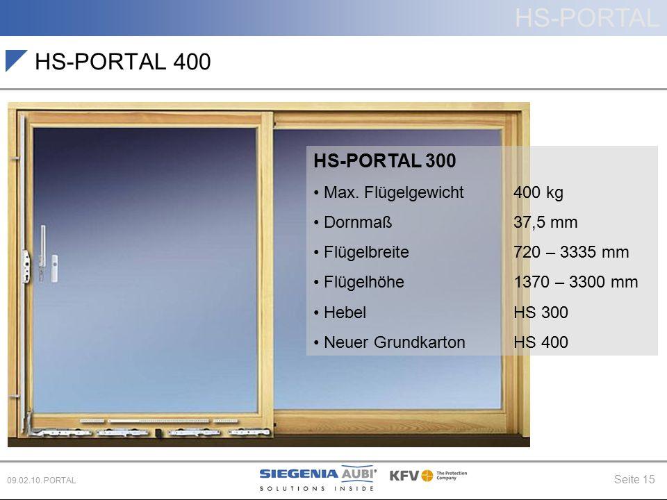 HS-PORTAL 400 HS-PORTAL 300 Max. Flügelgewicht 400 kg Dornmaß 37,5 mm