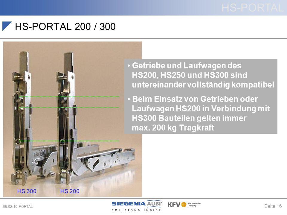HS-PORTAL 200 / 300 Getriebe und Laufwagen des HS200, HS250 und HS300 sind untereinander vollständig kompatibel.