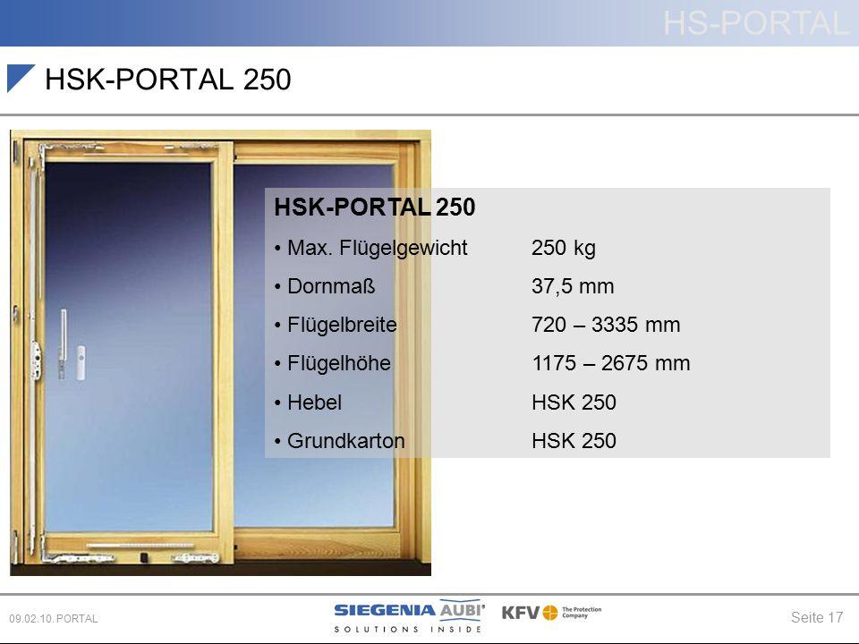 HSK-PORTAL 250 HSK-PORTAL 250 Max. Flügelgewicht 250 kg