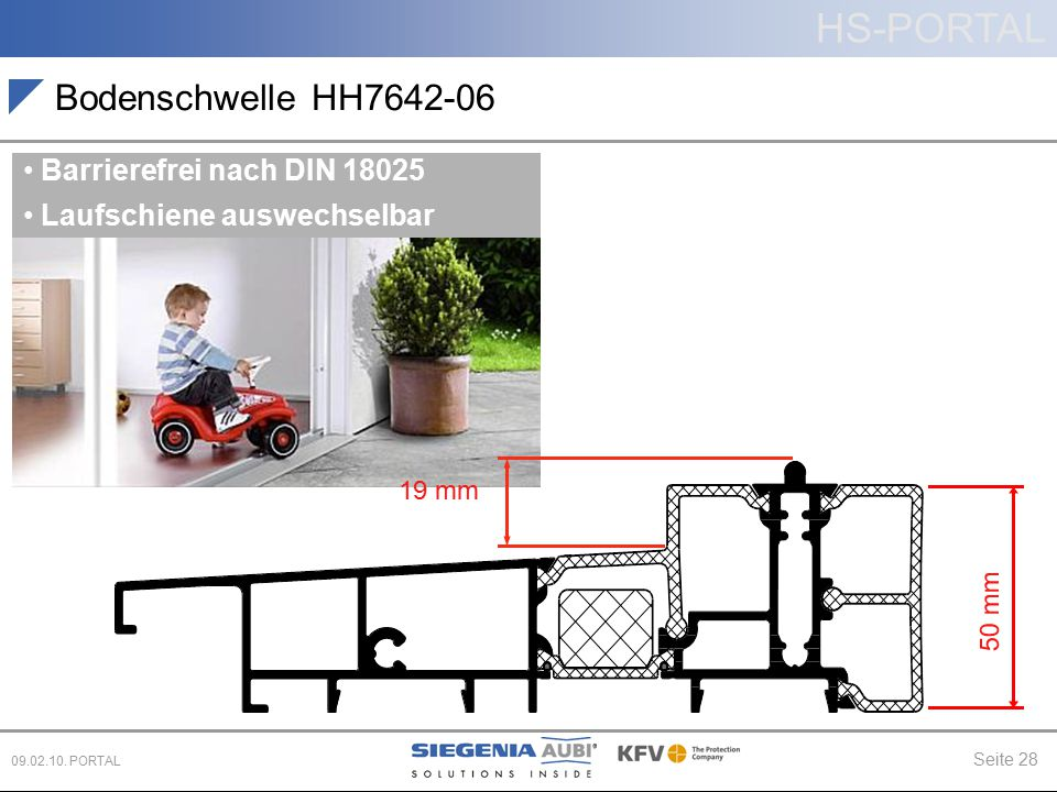 Bodenschwelle HH7642-06 Barrierefrei nach DIN 18025