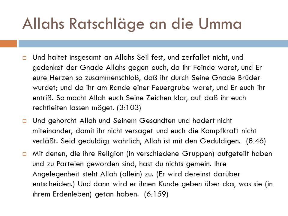 Allahs Ratschläge an die Umma