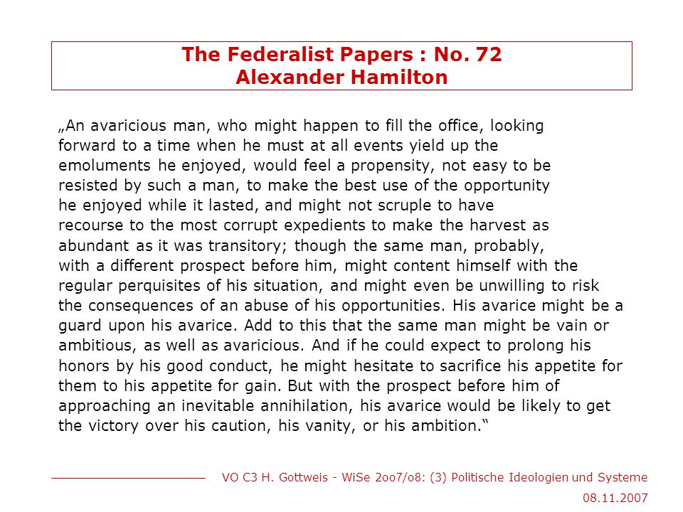 The Federalist Papers : No. 72 Alexander Hamilton