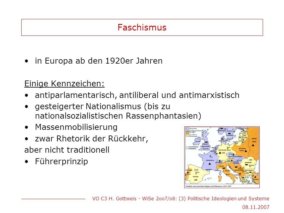 Faschismus in Europa ab den 1920er Jahren Einige Kennzeichen: