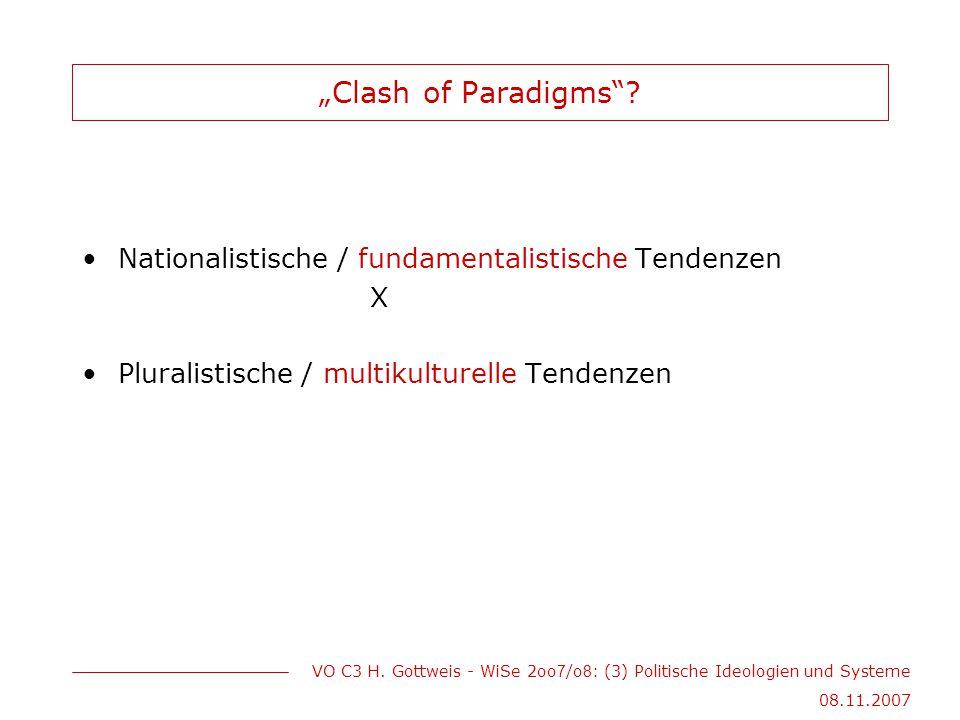 """""""Clash of Paradigms Nationalistische / fundamentalistische Tendenzen"""