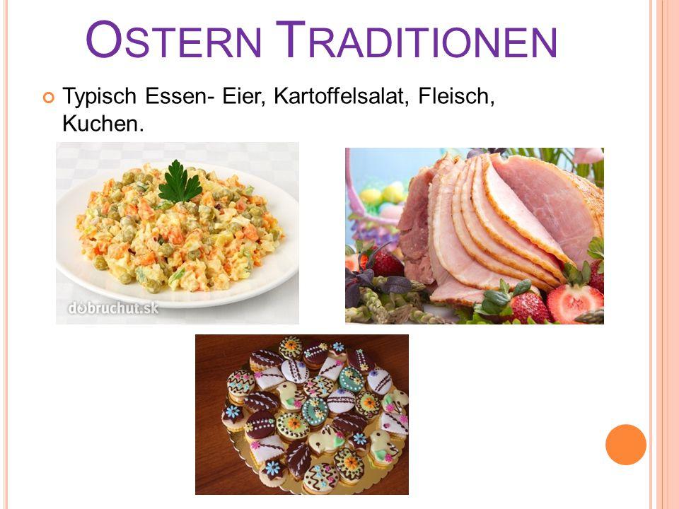 Ostern Traditionen Typisch Essen- Eier, Kartoffelsalat, Fleisch, Kuchen.