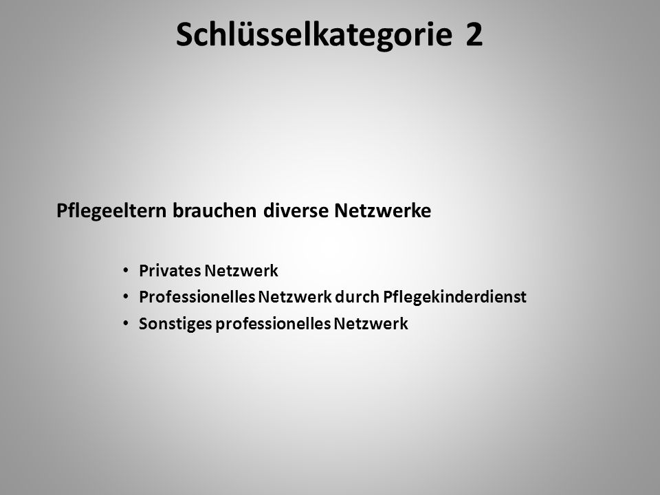 Schlüsselkategorie 2 Pflegeeltern brauchen diverse Netzwerke