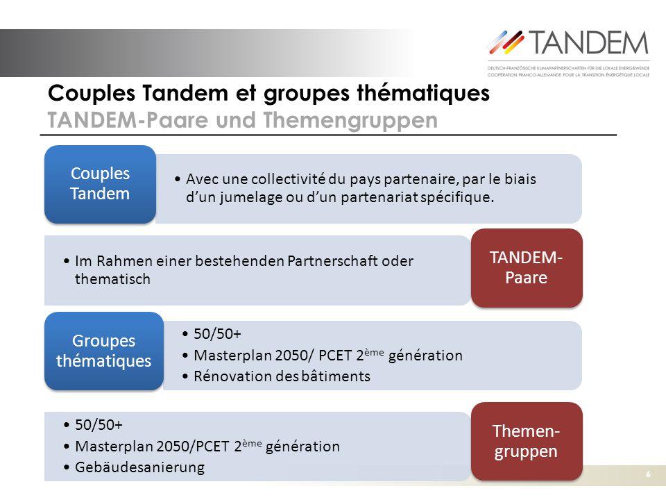 Couples Tandem et groupes thématiques TANDEM-Paare und Themengruppen