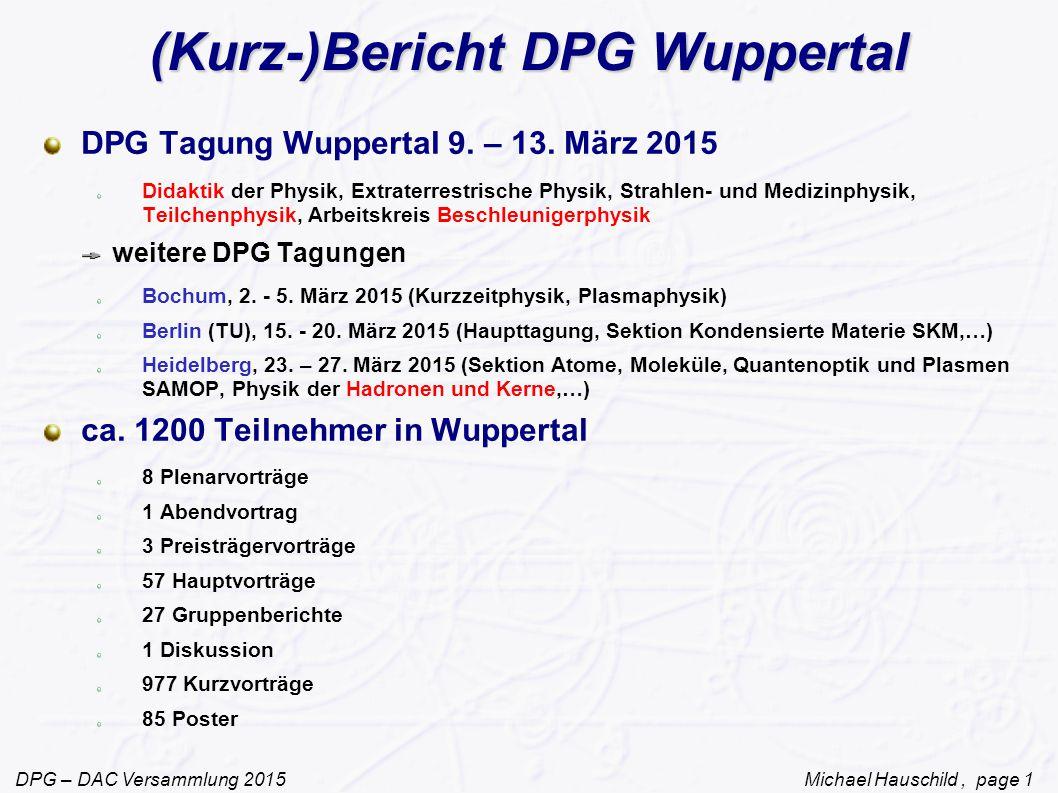 (Kurz-)Bericht DPG Wuppertal
