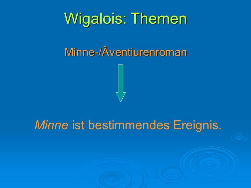 Wigalois: Themen Minne ist bestimmendes Ereignis.