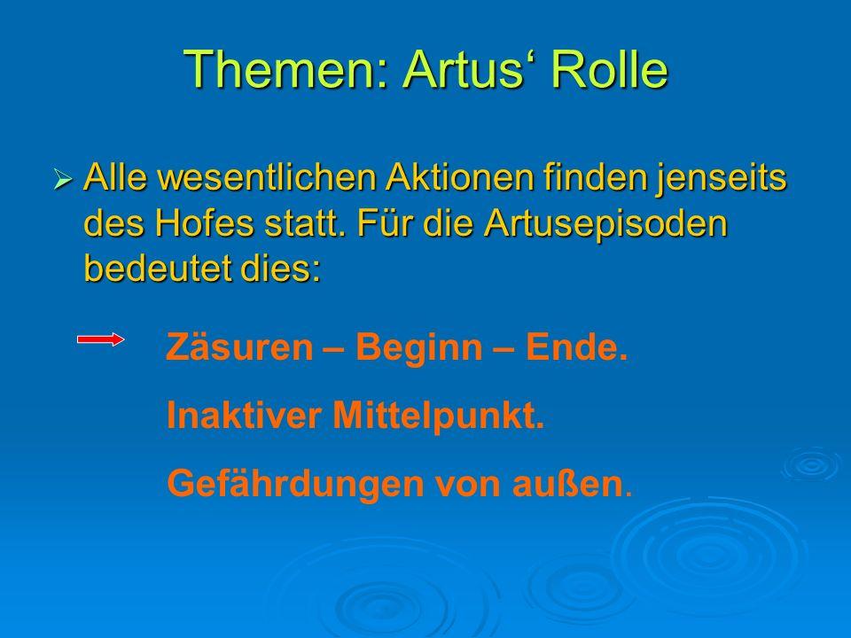 Themen: Artus' Rolle Alle wesentlichen Aktionen finden jenseits des Hofes statt. Für die Artusepisoden bedeutet dies: