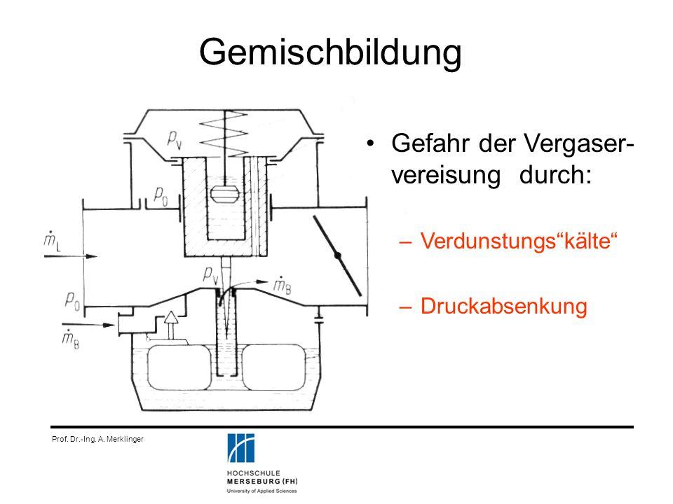 Gemischbildung Gefahr der Vergaser- vereisung durch: