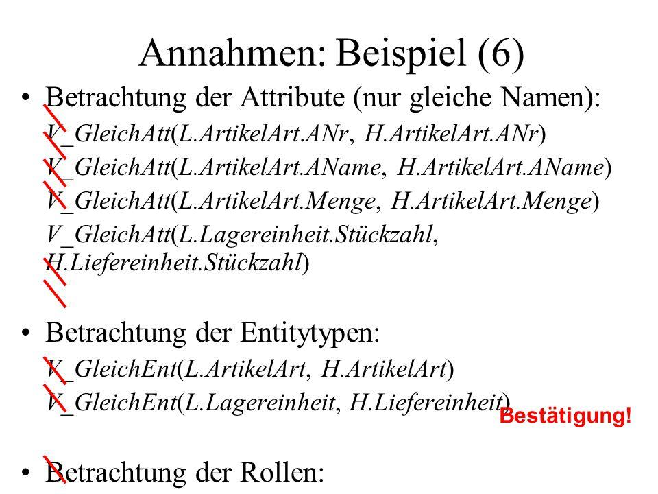 Annahmen: Beispiel (6) Betrachtung der Attribute (nur gleiche Namen):