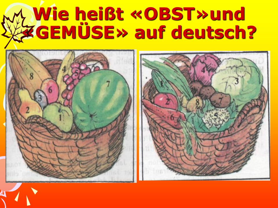 Wie heißt «OBST»und «GEMÜSE» auf deutsch