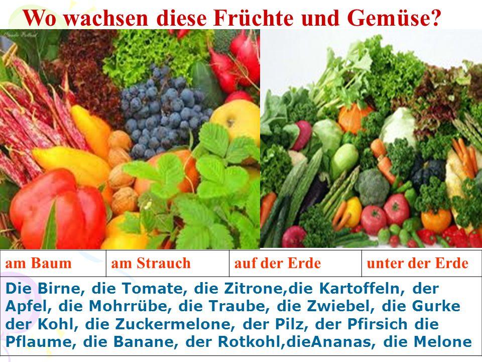 Wo wachsen diese Früchte und Gemüse