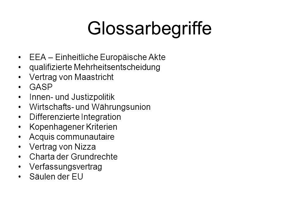 Glossarbegriffe EEA – Einheitliche Europäische Akte