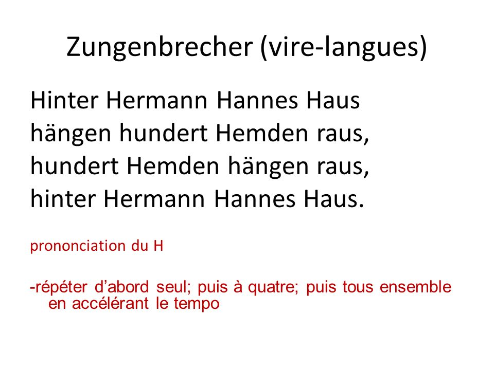 Zungenbrecher (vire-langues)