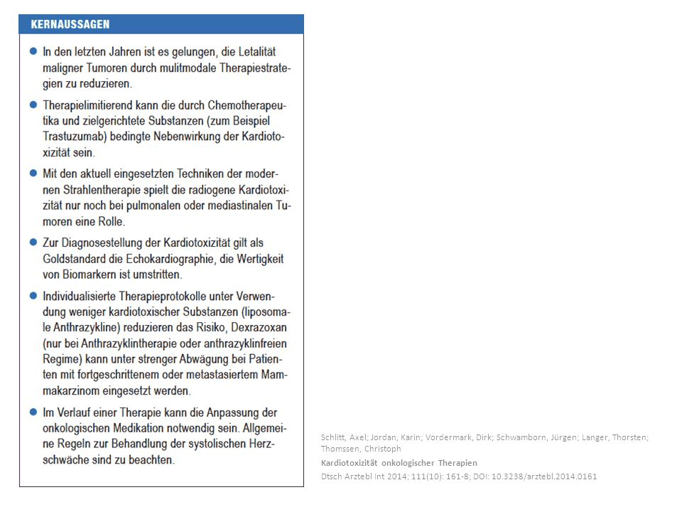 Schlitt, Axel; Jordan, Karin; Vordermark, Dirk; Schwamborn, Jürgen; Langer, Thorsten; Thomssen, Christoph