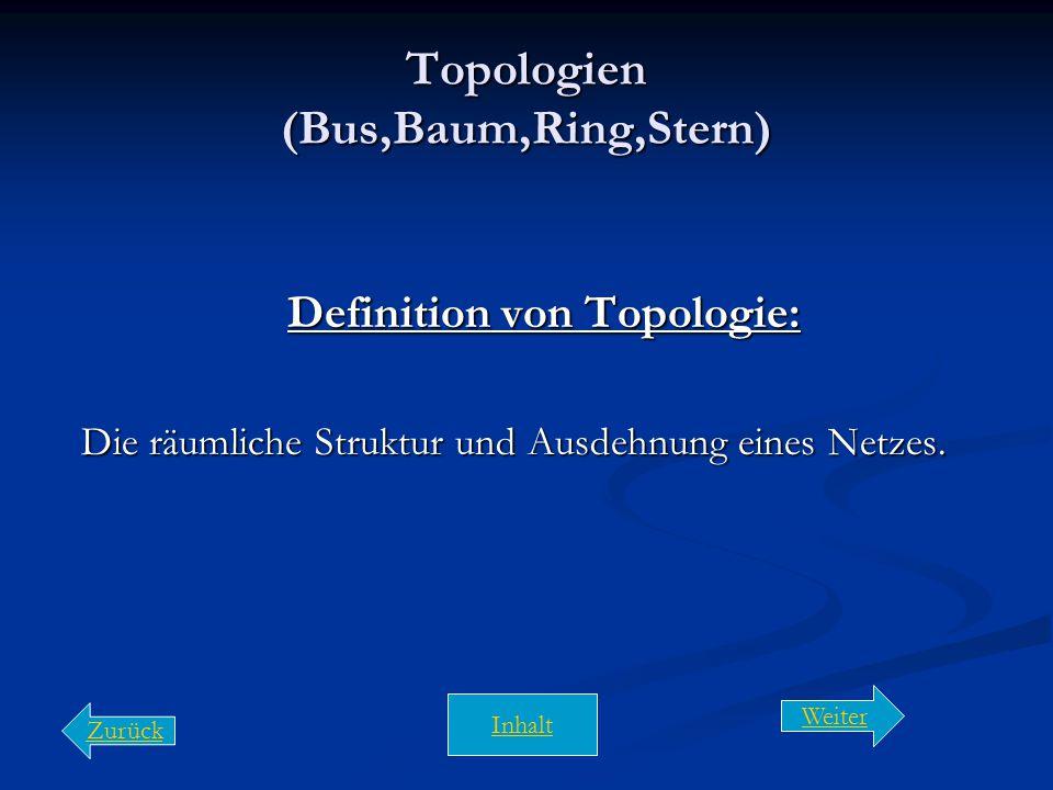 Topologien (Bus,Baum,Ring,Stern)