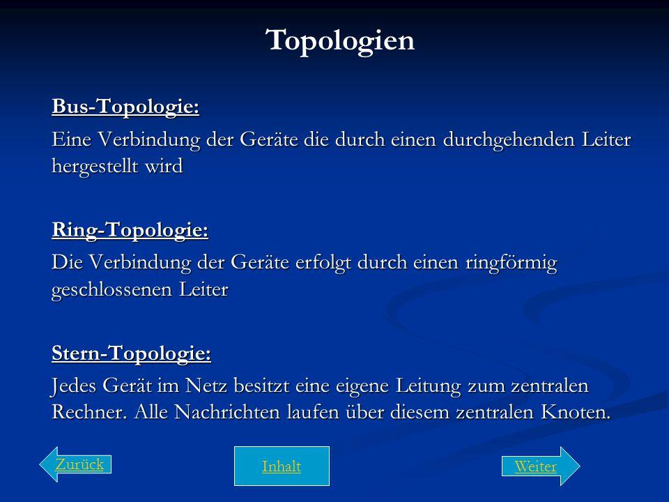 Topologien Bus-Topologie: