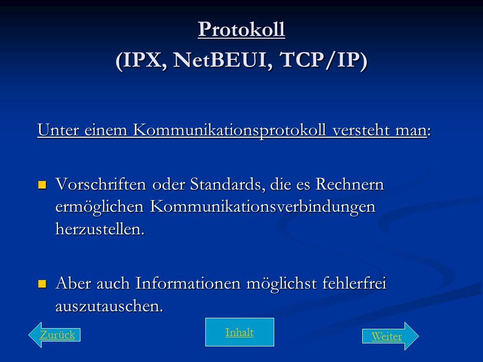 Protokoll (IPX, NetBEUI, TCP/IP)