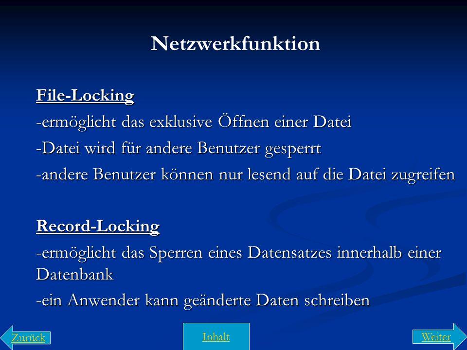 Netzwerkfunktion File-Locking