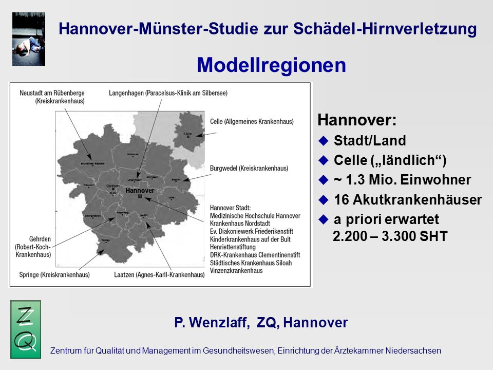 Modellregionen Hannover-Münster-Studie zur Schädel-Hirnverletzung