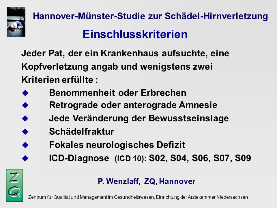 Einschlusskriterien Hannover-Münster-Studie zur Schädel-Hirnverletzung