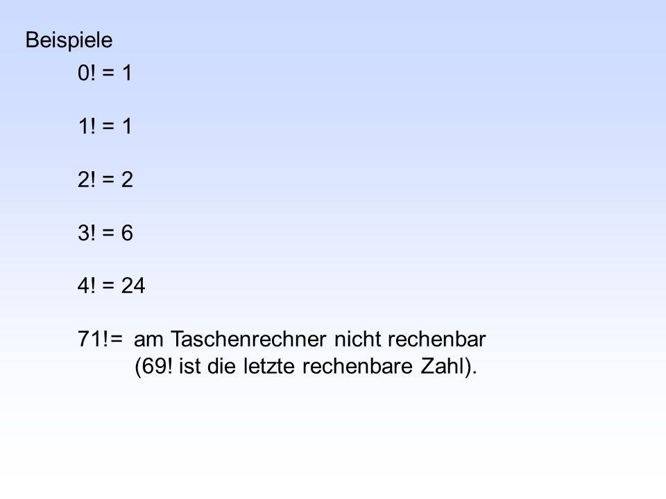 Beispiele 0. = 1. 1. = 1. 2. = 2. 3. = 6.