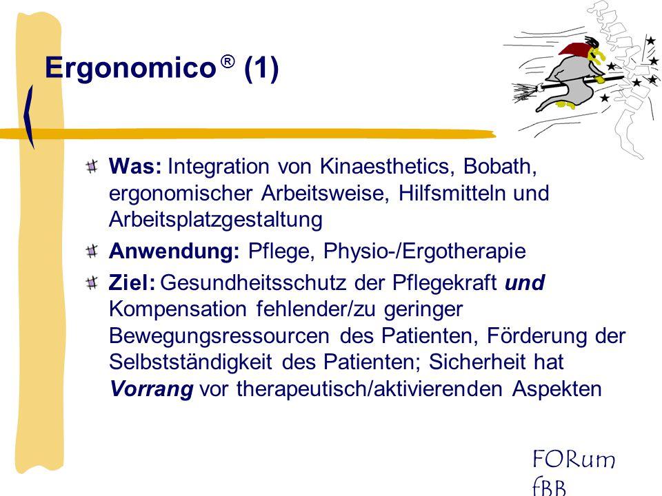 Ergonomico ® (1) Was: Integration von Kinaesthetics, Bobath, ergonomischer Arbeitsweise, Hilfsmitteln und Arbeitsplatzgestaltung.