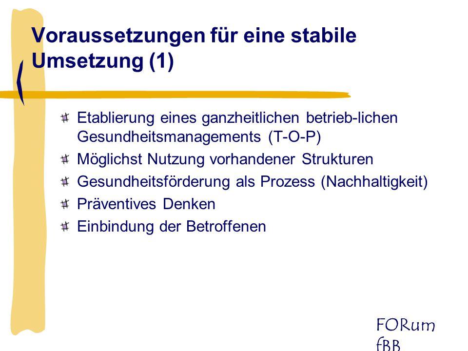 Voraussetzungen für eine stabile Umsetzung (1)