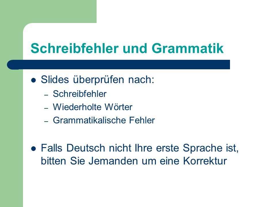 Schreibfehler und Grammatik