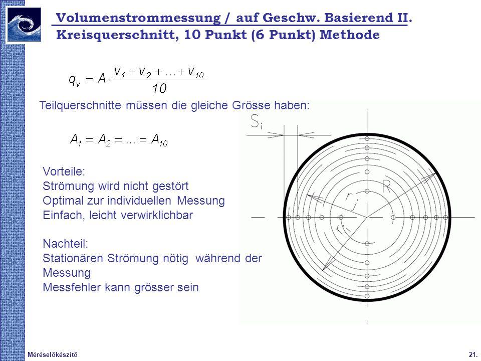 Volumenstrommessung / auf Geschw. Basierend II.