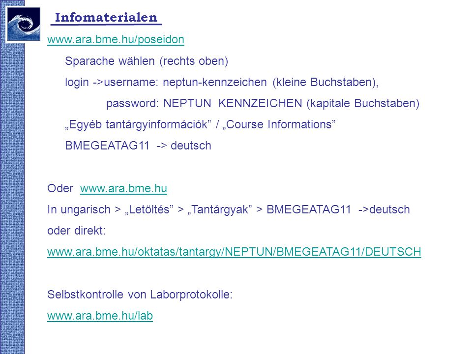 Infomaterialen www.ara.bme.hu/poseidon Sparache wählen (rechts oben)