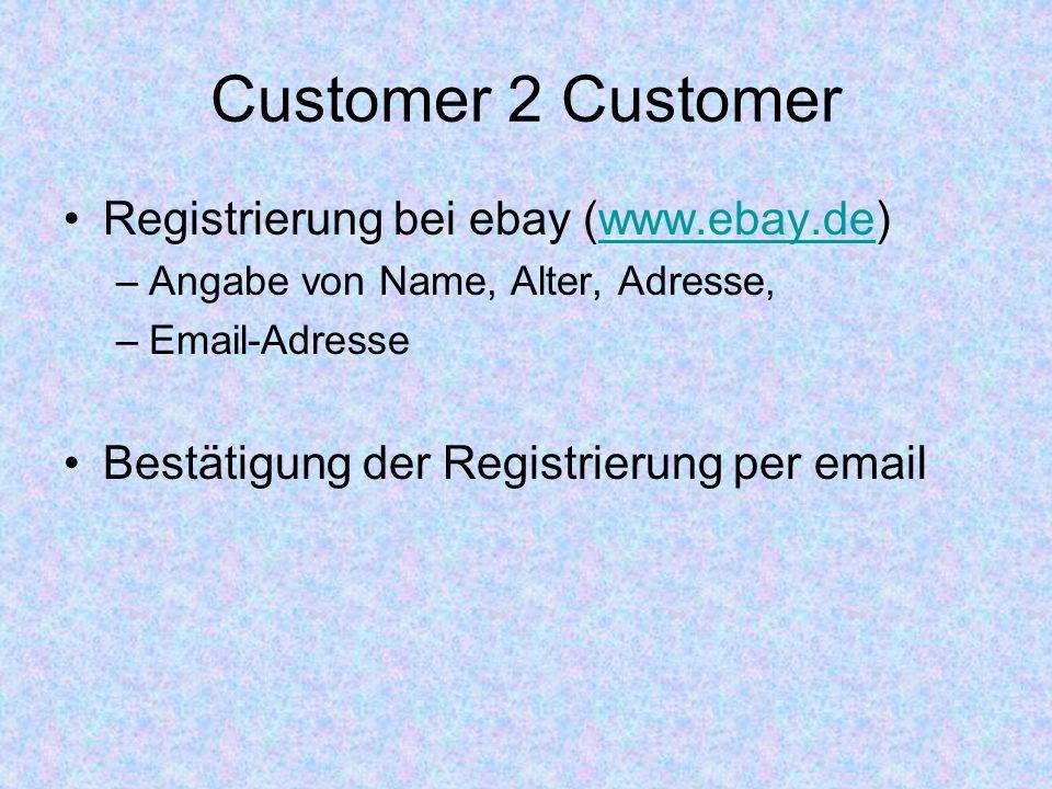 Customer 2 Customer Registrierung bei ebay (www.ebay.de)